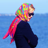 Extra large and lightweight chiffon silk scarf, raspberry and multicolor, by ANNE TOURAINE Paris™