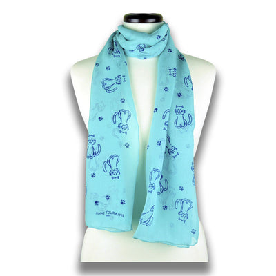 Turquoise blue silk chiffon scarf with cat pattern, oblong shape: a perfect gift for cat lovers. Scarf by ANNE TOURAINE Paris™ (1)