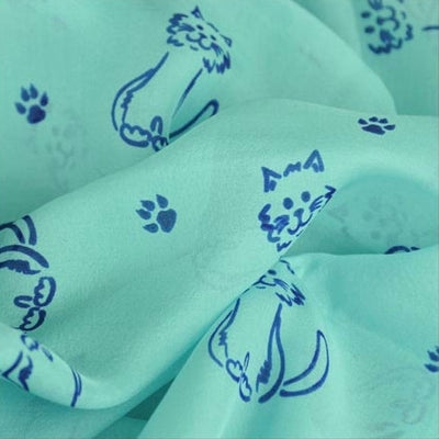 Turquoise blue silk chiffon scarf with cat pattern, oblong shape: a perfect gift for cat lovers. Scarf by ANNE TOURAINE Paris™ (4)