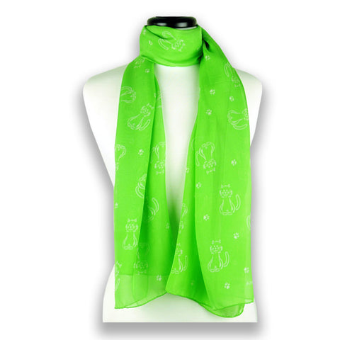 Vivid green silk chiffon scarf with cat pattern, oblong shape: a perfect gift for cat lovers. Scarf by ANNE TOURAINE Paris™ (1)