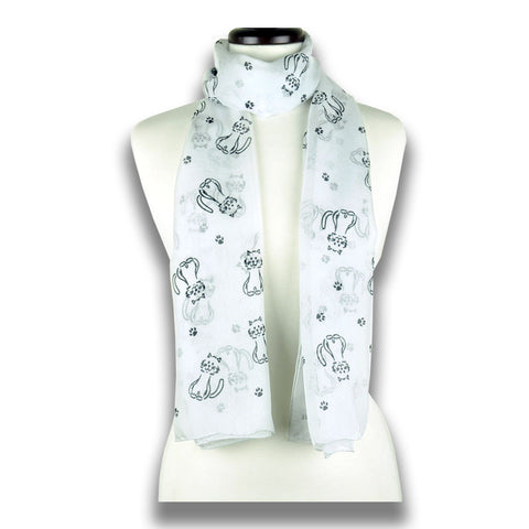 Pale grey silk chiffon scarf with cat pattern, oblong shape: a perfect gift for cat lovers. Scarf by ANNE TOURAINE Paris™ (1)