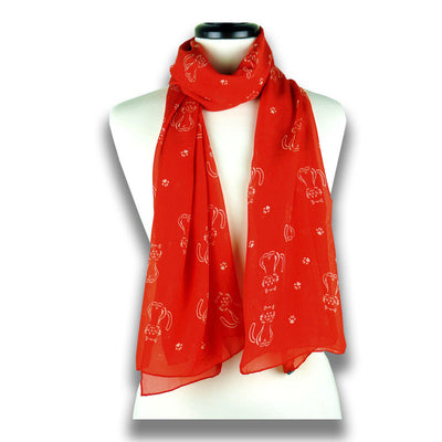 Red silk chiffon scarf with cat pattern, oblong shape: a perfect gift for cat lovers. Scarf by ANNE TOURAINE Paris™ (1)