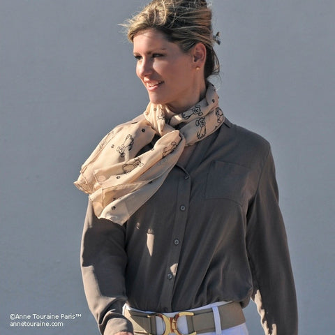 Beige silk chiffon scarf with dog pattern, oblong shape: a perfect gift for dog lovers. Scarf by ANNE TOURAINE Paris™ (3)