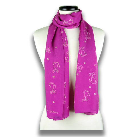 Pink silk chiffon scarf with dog pattern, oblong shape: a perfect gift for dog lovers. Scarf by ANNE TOURAINE Paris™ (1)
