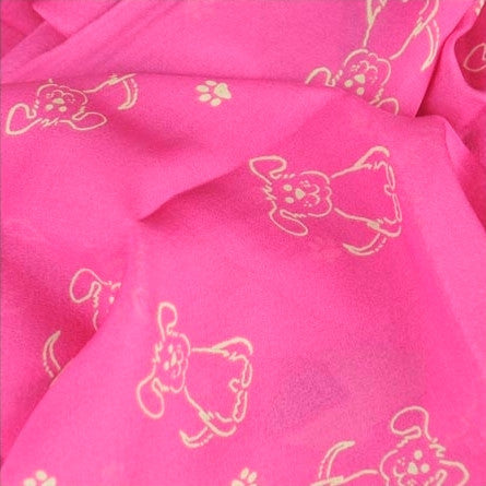 Pink silk chiffon scarf with dog pattern, oblong shape: a perfect gift for dog lovers. Scarf by ANNE TOURAINE Paris™ (4)