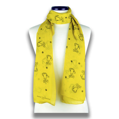 Yellow silk chiffon scarf with dog pattern, oblong shape: a perfect gift for dog lovers. Scarf by ANNE TOURAINE Paris™ (1)
