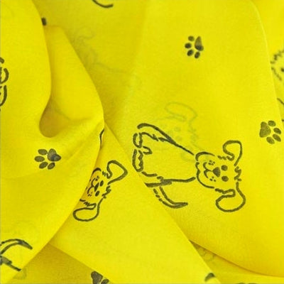Yellow silk chiffon scarf with dog pattern, oblong shape: a perfect gift for dog lovers. Scarf by ANNE TOURAINE Paris™ (4)
