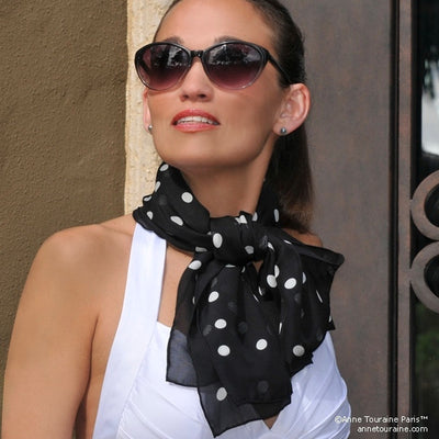 Black and white polka dot silk chiffon scarf, oblong shape. Lightweight and easy to tie. Scarf by ANNE TOURAINE Paris™ (2)