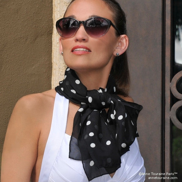 BLACK POLKA DOT SCARF - 67x26""