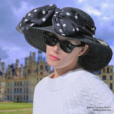 Black and white polka dot silk chiffon scarf, oblong shape. Lightweight and easy to tie. Scarf by ANNE TOURAINE Paris™ (3)