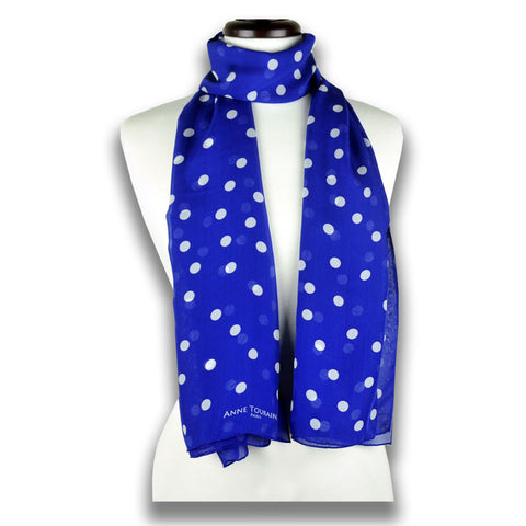 Blue polka dot silk chiffon scarf, oblong shape. Lightweight and easy to tie. Scarf by ANNE TOURAINE Paris™ (2)