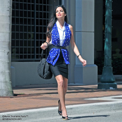 Blue polka dot silk chiffon scarf, oblong shape. Lightweight and easy to tie. Scarf by ANNE TOURAINE Paris™ (3)