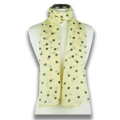Champagne polka dot silk chiffon scarf, oblong shape. Lightweight and easy to tie. Scarf by ANNE TOURAINE Paris™ (1)