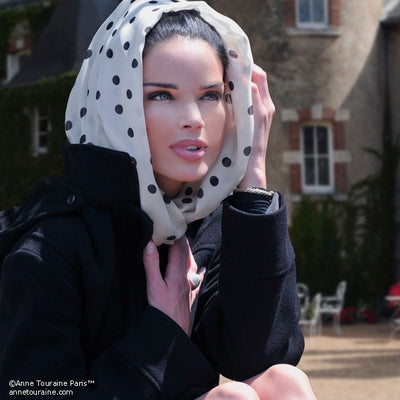 Champagne polka dot silk chiffon scarf, oblong shape. Lightweight and easy to tie. Scarf by ANNE TOURAINE Paris™ (3)
