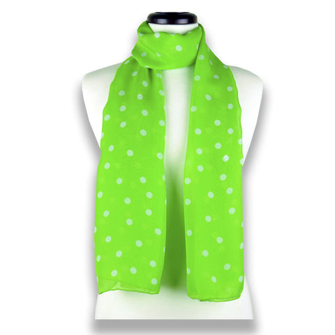 Vivid green polka dot silk chiffon scarf, oblong shape. Lightweight and easy to tie. Scarf by ANNE TOURAINE Paris™ (1)
