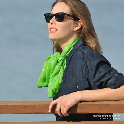 Vivid green polka dot silk chiffon scarf, oblong shape. Lightweight and easy to tie. Scarf by ANNE TOURAINE Paris™ (2)
