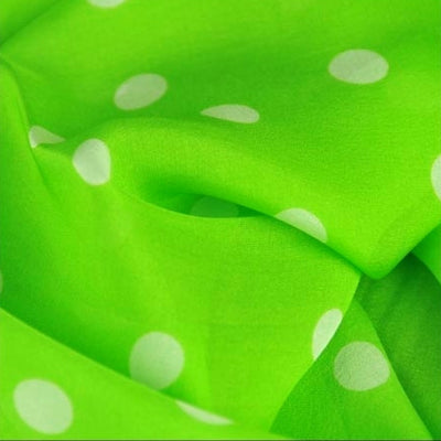 Vivid green polka dot silk chiffon scarf, oblong shape. Lightweight and easy to tie. Scarf by ANNE TOURAINE Paris™ (4)