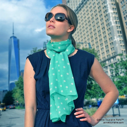 Mint polka dot silk chiffon scarf, oblong shape. Lightweight and easy to tie. Scarf by ANNE TOURAINE Paris™ (2)