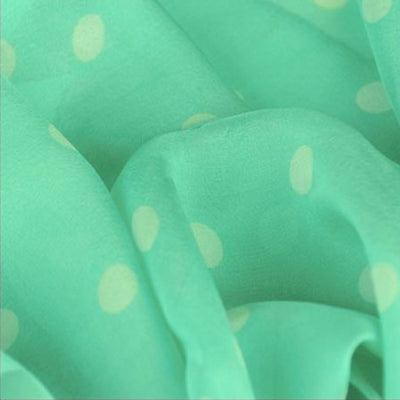 Mint polka dot silk chiffon scarf, oblong shape. Lightweight and easy to tie. Scarf by ANNE TOURAINE Paris™ (4)