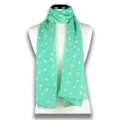 Mint polka dot silk chiffon scarf, oblong shape. Lightweight and easy to tie. Scarf by ANNE TOURAINE Paris™ (1)