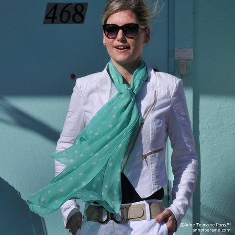 Mint polka dot silk chiffon scarf, oblong shape. Lightweight and easy to tie. Scarf by ANNE TOURAINE Paris™ (3)