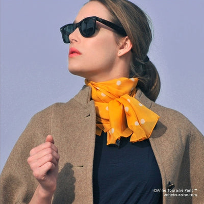Orange polka dot silk chiffon scarf, oblong shape. Lightweight and easy to tie. Scarf by ANNE TOURAINE Paris™ (2)