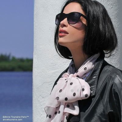 Pink polka dot silk chiffon scarf, oblong shape. Lightweight and easy to tie. Scarf by ANNE TOURAINE Paris™ (3)
