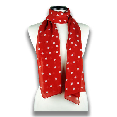 Red polka dot silk chiffon scarf, oblong shape. Lightweight and easy to tie. Scarf by ANNE TOURAINE Paris™ (1)