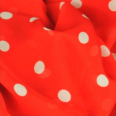 Red polka dot silk chiffon scarf, oblong shape. Lightweight and easy to tie. Scarf by ANNE TOURAINE Paris™ (4)