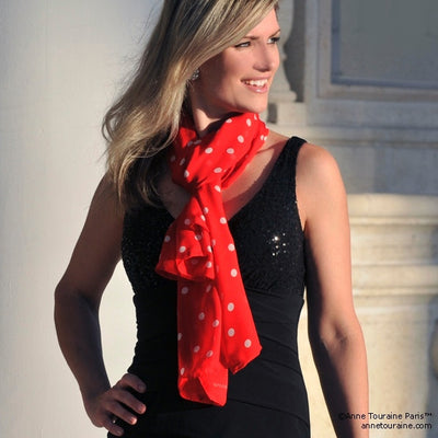 Red polka dot silk chiffon scarf, oblong shape. Lightweight and easy to tie. Scarf by ANNE TOURAINE Paris™ (2)