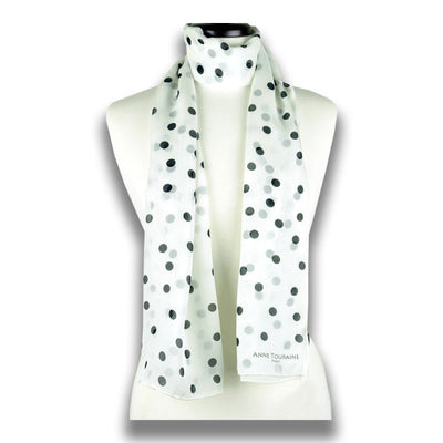 White polka dot silk chiffon scarf, oblong shape. Lightweight and easy to tie. Scarf by ANNE TOURAINE Paris™ (1)