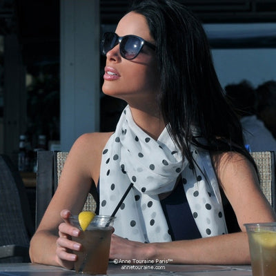 White polka dot silk chiffon scarf, oblong shape. Lightweight and easy to tie. Scarf by ANNE TOURAINE Paris™ (3)