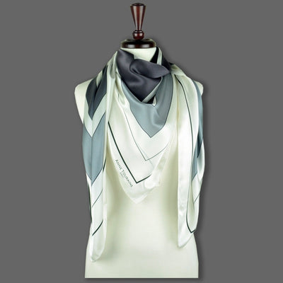 Black and white extra large silk scarf with a modern geometric design: versatile and trendy. Scarf ANNE TOURAINE Paris™ (6)