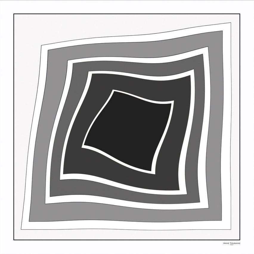 Black and white extra large silk scarf with a modern geometric design: versatile and trendy. Scarf ANNE TOURAINE Paris™ (1)