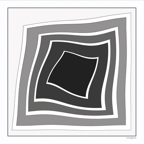 Black and white extra large silk scarf with a modern geometric design: versatile and trendy. Scarf ANNE TOURAINE Paris™ (2)