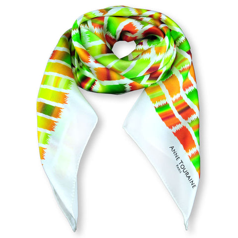 Green and brown extra large silk scarf with a contemporary ethnic pattern: versatile and easy to wear all year round. Scarf ANNE TOURAINE Paris™ (1)