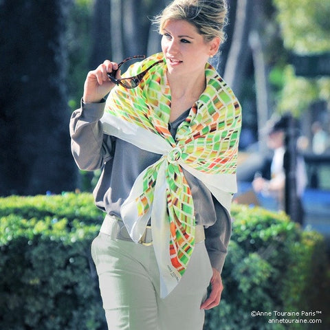 Green and brown extra large silk scarf with a contemporary ethnic pattern: versatile and easy to wear all year round. Scarf ANNE TOURAINE Paris™ (3)