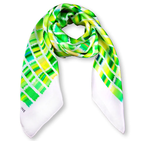 Green and yellow extra large silk scarf with a contemporary ethnic pattern: versatile and easy to wear all year round. Scarf ANNE TOURAINE Paris™ (1)