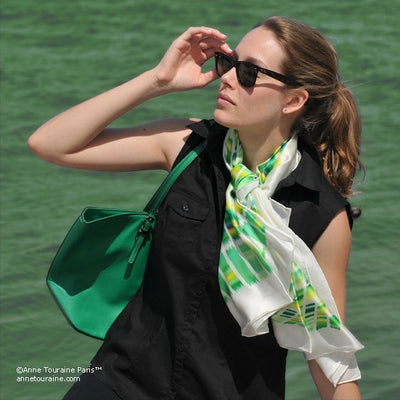 Green and yellow extra large silk scarf with a contemporary ethnic pattern: versatile and easy to wear all year round. Scarf ANNE TOURAINE Paris™ (3)