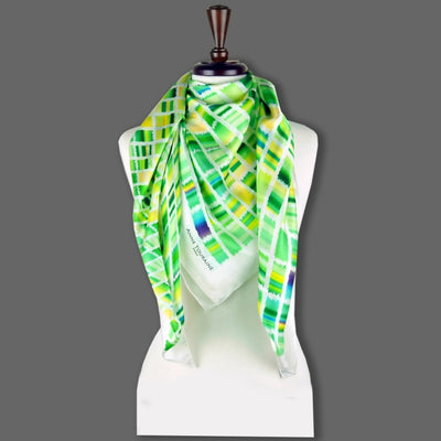 Green and yellow extra large silk scarf with a contemporary ethnic pattern: versatile and easy to wear all year round. Scarf ANNE TOURAINE Paris™ (6)