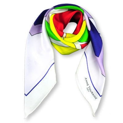 Multicolor extra large silk scarf with a modern geometric design: versatile and easy to pair with many colors. Scarf ANNE TOURAINE Paris™ (1)