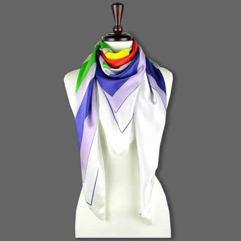Multicolor extra large silk scarf with a modern geometric design: versatile and easy to pair with many colors. Scarf ANNE TOURAINE Paris™ (6)