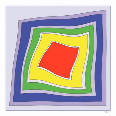 Multicolor extra large silk scarf with a modern geometric design: versatile and easy to pair with many colors. Scarf ANNE TOURAINE Paris™ (2)
