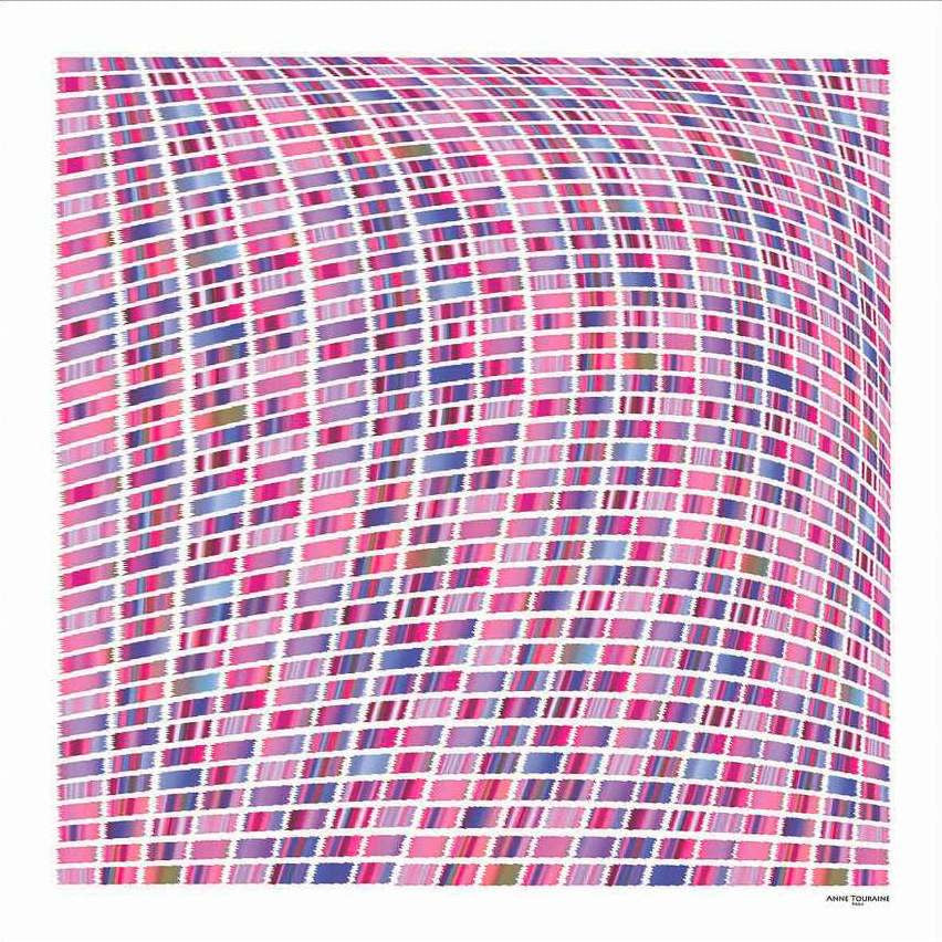 Pink and blue extra large silk scarf with a contemporary ethnic pattern: versatile and easy to wear all year round. Scarf ANNE TOURAINE Paris™ (1)