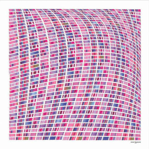 Pink and blue extra large silk scarf with a contemporary ethnic pattern: versatile and easy to wear all year round. Scarf ANNE TOURAINE Paris™ (2)
