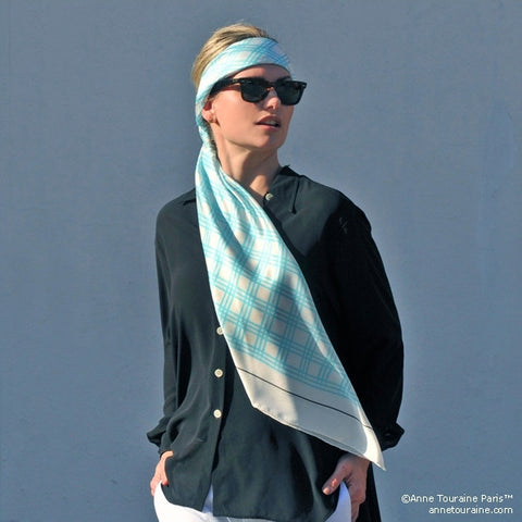 Turquoise and white extra large silk scarf with a fresh and modern stripe pattern: versatile and easy to wear all year round. Scarf ANNE TOURAINE Paris™ (3)