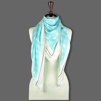 Turquoise and white extra large silk scarf with a fresh and modern stripe pattern: versatile and easy to wear all year round. Scarf ANNE TOURAINE Paris™ (6)