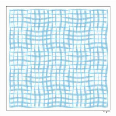 Turquoise and white extra large silk scarf with a fresh and modern stripe pattern: versatile and easy to wear all year round. Scarf ANNE TOURAINE Paris™ (2)