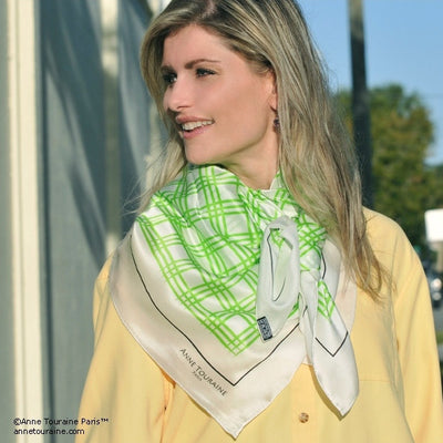 Green and white extra large silk scarf with a fresh and modern stripe pattern: versatile and easy to wear all year round. Scarf ANNE TOURAINE Paris™ (4)