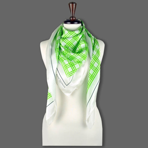 Green and white extra large silk scarf with a fresh and modern stripe pattern: versatile and easy to wear all year round. Scarf ANNE TOURAINE Paris™ (6)